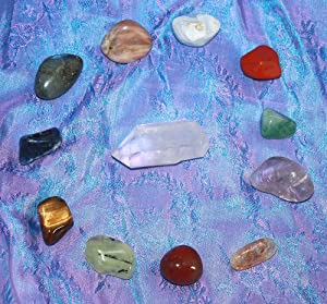 GeoFossils® Crystal Tumble Stone set of 12 Healing Crystals - Includes Red Jasper, Carnelian, Citrine, Green Aventurine, Blue Lace Agate, Sodalite, Amethyst, Moonstone, Tigers Eye, Labradorite, Prehnite and Crystal Quartz Point