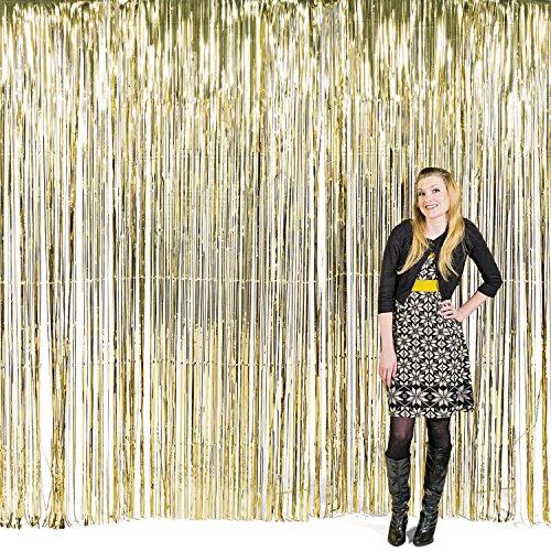 Vorhang gold metalic Streifenvorhang Türvorhang Raumdekoration Silvester Party Deko Palandi®