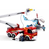 Sluban M38-B0627 Firefighting Series Blocks Vehicle Bricks Toy Helicopter (394 Piece), Elevating Platform Fire Truck and Plane (Tamaño: Elevating Platform Fire Truck & Plane)