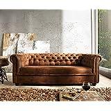 Couch Chesterfield Braun 200x90 cm Antik Optik abgesteppt 3-Sitzer