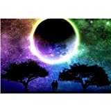 Moohue Beginner 14ct Counted Cross Stitch Kits Beautiful Moon and Lovers Handwork Embroidery Pattern DMC Cotton Thread Aida Cloth Needles Wedding Gifts Bedroom Decor (Beautiful Moon and Lovers) (Color: Beautiful moon and lovers)