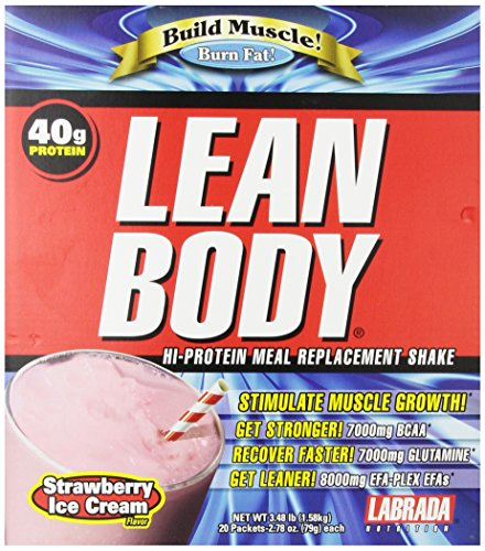 Labrada Nutrition Lean Body Meal Replacement Powder, Strawberry Ice Cream, 2.78-Ounce Packets (Pack Of 20)