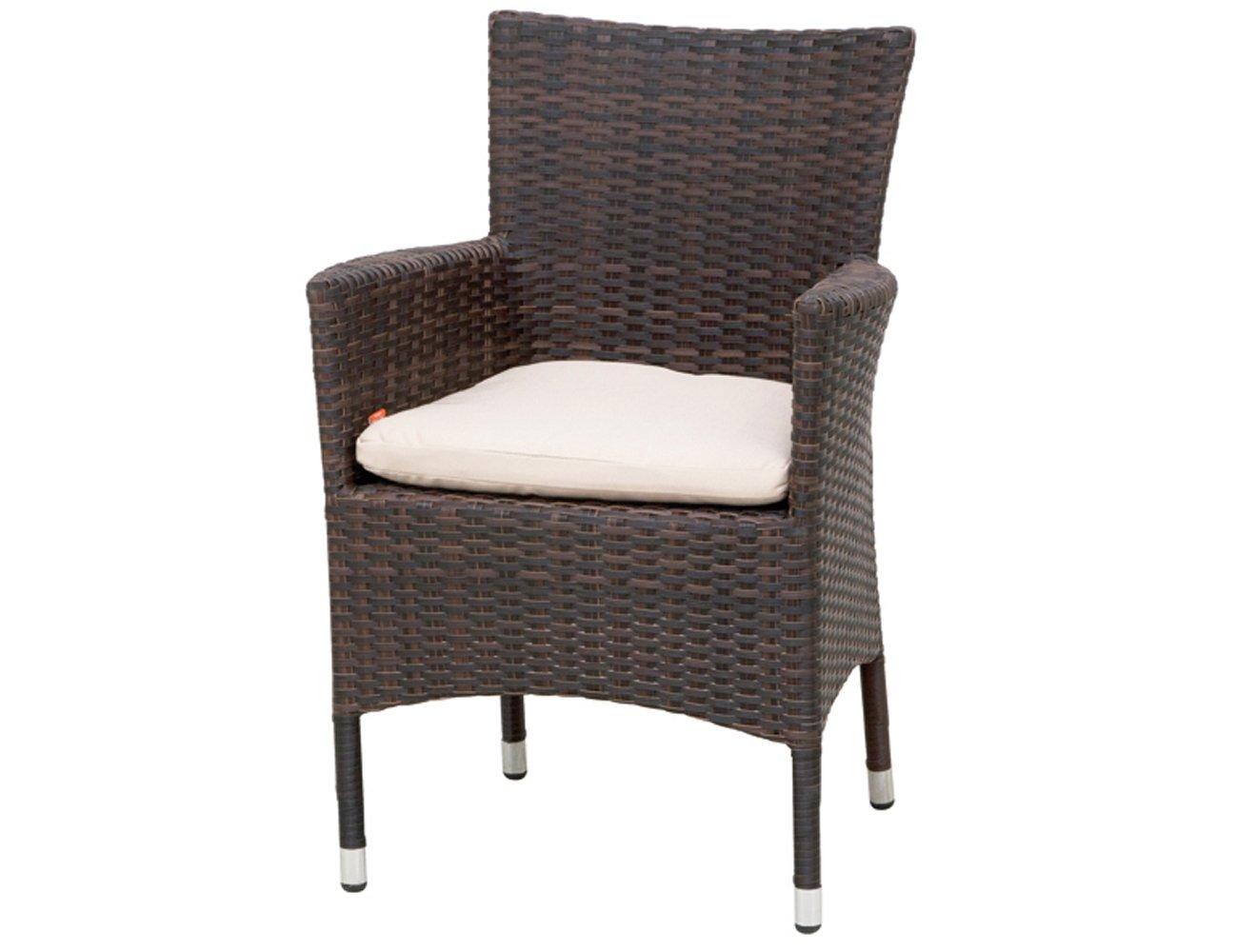 Siena Garden 801432 Sessel Bern Aluminium-Gestell Gardino®-Geflecht maron inkl. Kissen beige, Aluminium-Fußkappen