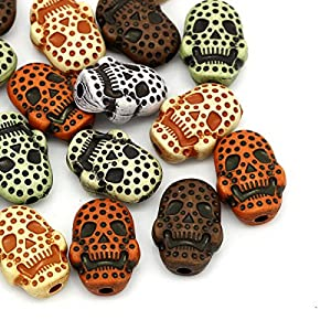 Housweety 50 Mix Acryl Perlen Beads Schaedel Dots Punkte Mehrfabrig 20mm x 15mm