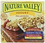 Nature Valley Chewy Yogurt Granola Bars, Variety Pack of Vanilla and Strawberry, 6-Count Boxes (Pack of 6)