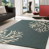 Devine Fern Green Indoor and Outdoor Vivid Collection Rug with Enticing Beige Reef Allover Floral Design, Hand Tufted Exact 5ft x 7ft On Sale!