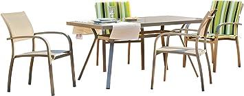Gartenmöbel, Stahl lackiert Schokolade Textilene Taupe 4Personen Tisch L150