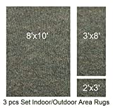 Indoor-Outdoor Mineral, 3 Piece Set, Patio Rug's (8x10 Area Rug, 3x8 Runner, 2x3 Mat)