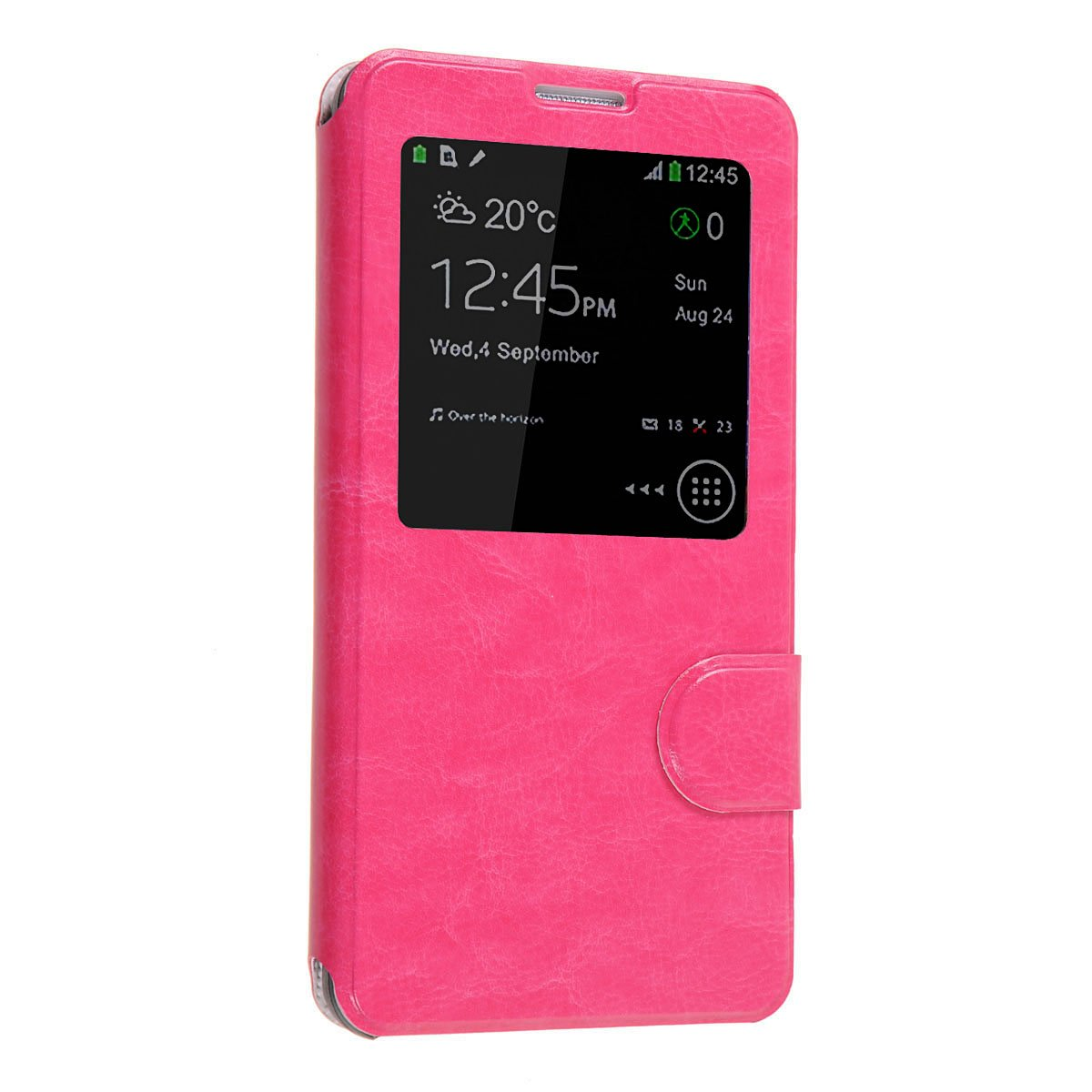 Okeler Hot Pink S-View Flip Cover Leather Case