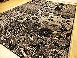 Large Rug Flower Area Rugs 8x11 Clearance Modern Rug for living Room 8x10 Silver Grey Rugs for Living Room