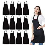 NOBONDO 12 Pack Bib Apron - Unisex Black Apron Bulk with 2 Roomy Pockets Machine Washable for Kitchen Crafting BBQ Drawing (Color: Black, Tamaño: Medium)