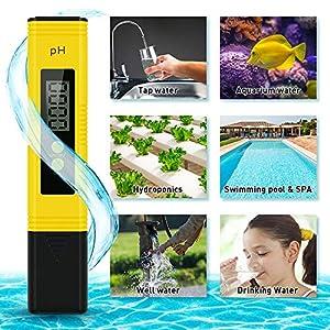 Digital PH Meter Tester Kit, High Accuracy Pocket Size PH Meter for Water, Digital ph Test Pen with 0-14 PH Measurement Range for Household Drinking Water, Aquarium, Swimming Pools