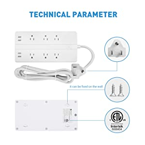 Etekcity 6-Outlet Surge Protector Power Strip with 4 USB Charging Ports, 5610 Joules,6 Ft Long Cord & Mounting Holes, FCC Certified,ETL Listed, White (Color: white, Tamaño: medium)