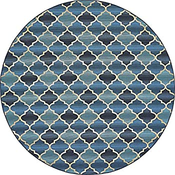 Unique Loom Outdoor Collection Moroccan Lattice Transitional Indoor and Outdoor Blue Round Rug (8 x 8)