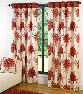 Monet Red 100% Cotton Floral 46x90 Lined Ring Top Curtains #allebanna *cur* by Curtains