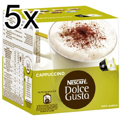 Nescafé Dolce Gusto Cappuccino, Pack of 5, 5 x 16 Capsules (40 Servings)