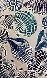 Summer Fun Seashells on White Vinyl Flannel Back Tablecloth with Zipper Umbrella Hole (70