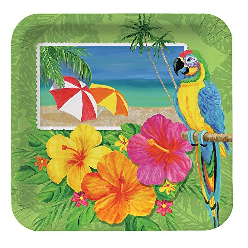 Creative Converting 8 Count Square Paper Dinner Plates, Tropical Vacation
