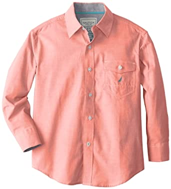 Nautica Big Boys' Long Sleeve Woven Chambray Shirt, Hibiscus, Small