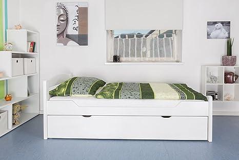 """Bett / Gästebett """"Easy Sleep"""" K1/2h inkl. 2. Liegeplatz und 2 Abdeckblenden, 90 x 200 cm Buche Vollholz massiv weiß lackiert"""