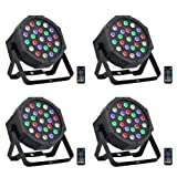 LED Stage Lights Package, OPPSK 24Wx4 LED Par Can with RGBW Color Mixing by Remote and DMX Control for Wedding Birthday Church Stage Lighting - 4 Pack (Color: 24LEDs Par Lights Pack)