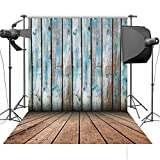 5x7ft Blue Wood Wall And Brown Wood Floor Photography Background for childrens backdrop D-2233