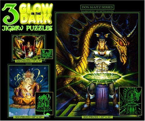 3in1 Glow in the Dark Jigsaw Puzzles-Spell Bound, Dragon Spell, and Blue Dragon