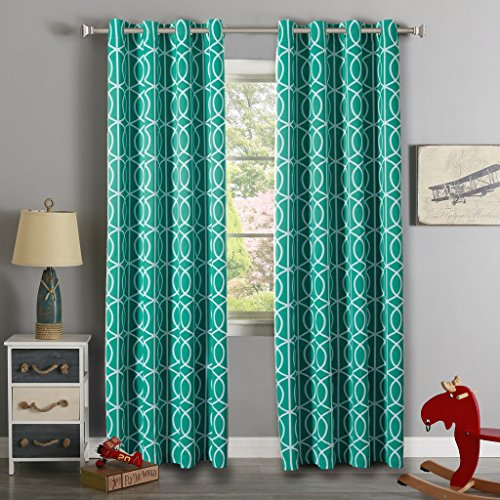 H.Versailtex High Density Woven Printed Thermal Insulated Blackout Curtains for Living Room (Grommet Panels,52 by 96 - Inch,Slub Twilight Pattern in Teal Blue,Set of 2) (Sliding Door Pattern Curtains compare prices)