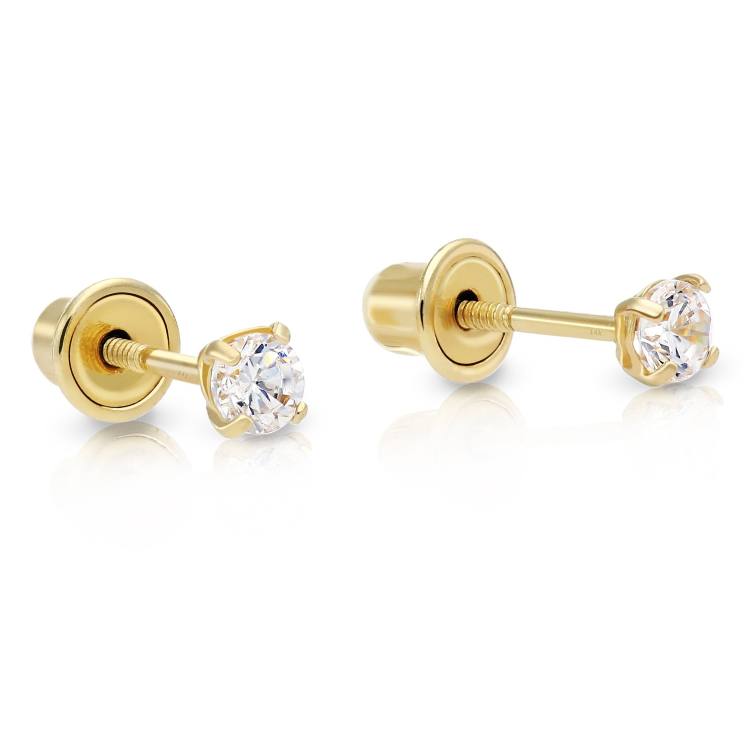 14k Yellow Gold Cubic Zirconia Stud Earrings with Screw Backs