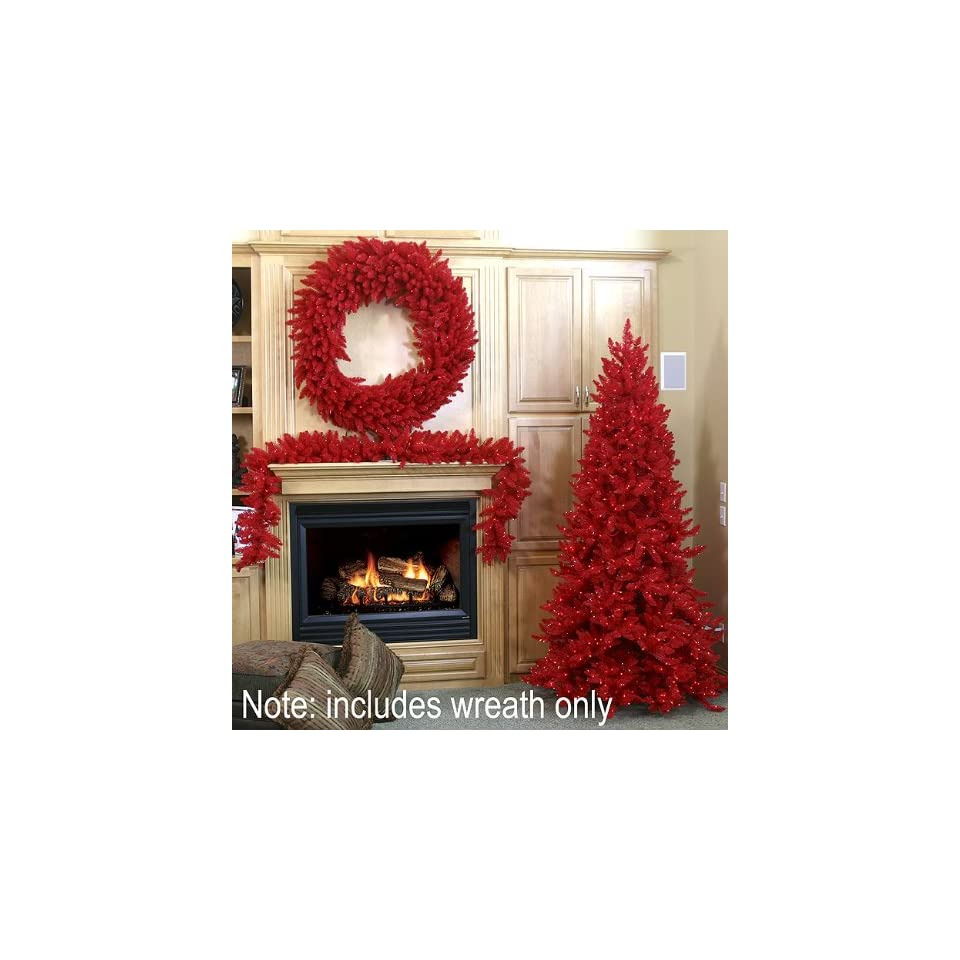 30 Pre Lit Red Ashley Spruce Artificial Christmas Wreath   Red Lights