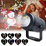 Christmas Projector Lights for Indoor, Rotating Snowflake LED Christmas Light with 7 Multicoloured Switchable Slides for Graduation Prom, Holiday, Halloween, Birthday, Valentine's, Easter, Party Decor (Color: Black)