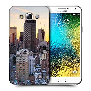 Snoogg Brown Building Printed Protective Phone Back Case Cover ForSamsung Galaxy E7