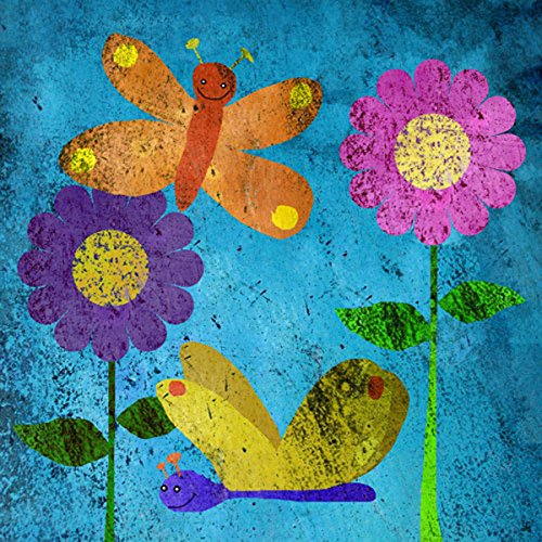 Green Leaf Art Butterflies on Blue Canvas Art