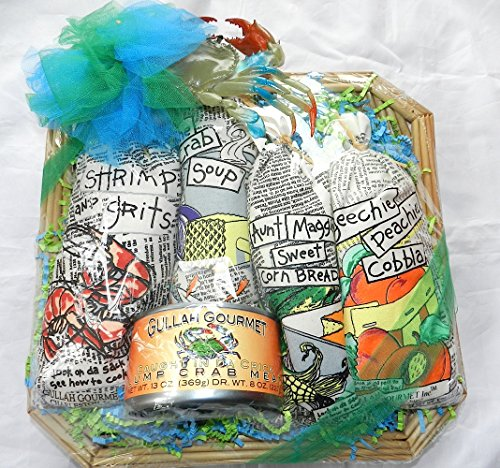 Gift Basket of Gullah Gourmet's favorites (Shrimp & Grits, She Crab Soup, Aunt Maggies Sweet Corn Bread, Peach Cobbler, Lump Crab meat, and a Rubber Squeaky Crab) all in a Low Country South Carolina Basket