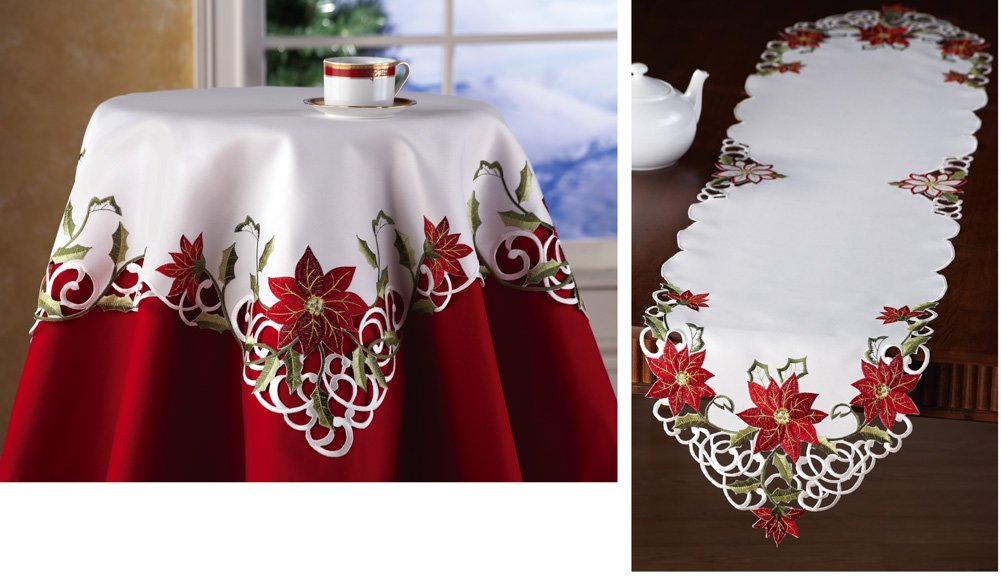 Embroidered Holiday Poinsettia Table Linens Square