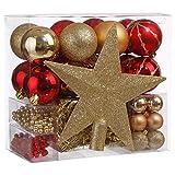 Lot déco Noël - Kit 44 pièces pour décoration sapin : Guirlandes, Boules et Cimier - Thème couleur : Rouge et Or...