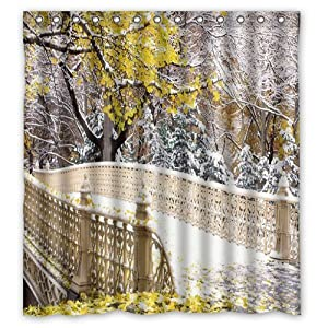 Amazon com winter shower curtain custom bath curtain