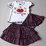 Baby Girls Cute Summer Clothes - 6-12 months - Gorgeous White Blue and Red Strawberries Short-sleeved Top & Skirt with Sun Hat Outfit Set