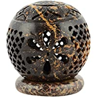 Origin Crafts Stone Tealight Candle Holders - 8 Cm X 8 Cm X 10 Cm, Brown
