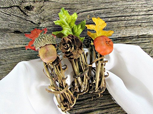 Oak Leaf, Acorn, Pine Cone and Pumpkin Pod Napkin Rings for Fall / Autumn / Thanksgiving (Set of 4, 6, 8, 10, 12)