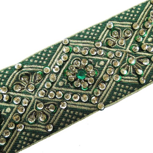 1 Yd Green Hand Beaded Sequin Border Trim Ribbon Lace