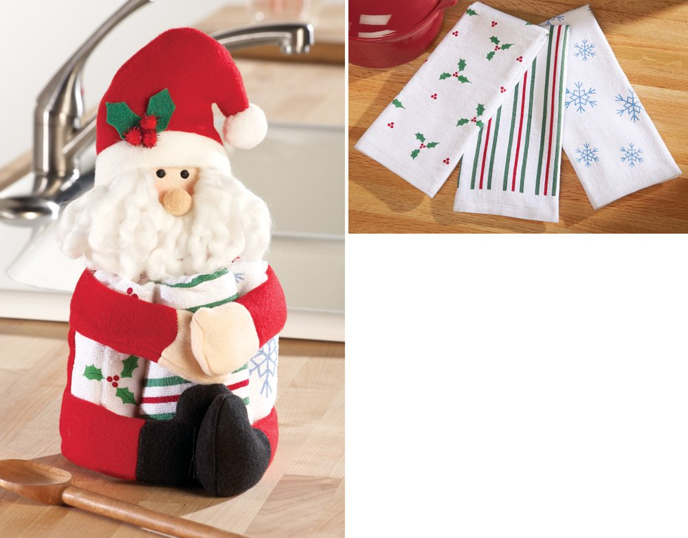 Santa With Kitchen Dish Towel Gift Set