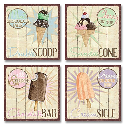 Vintage Ice Cream Shop Set, Double Scoop, Sundae Cone, Creamsicle, Chocolate Bar; Kitchen Décor; Four 12 x 12 Poster Prints (Ice Cream Cone Decor compare prices)