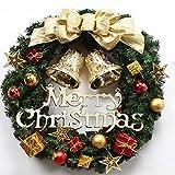 メーリー Xmas クリスマス リース 飾り ゴールド リボン ミニマット付 (ゴールド, フリー)