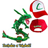 Pokedoll Rayquaza 31'' with Ash Ketchum Hat Plush Bundle (Color: Green, Red, Tamaño: 31 Inches)