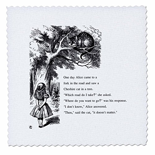 3dRose qs_193782_1 Which Road Do I Take Cheshire Cat Alice in Wonderland-John Tenniel-Quilt Square, 10 by 10-Inch (Alice In Wonderland Quilt compare prices)