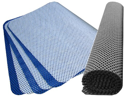 Non-Slip Grip Value Pack for Rugs, Mats, Drawers, Car Boots - ULTIMATE Extra Thick 400 gsm - Over 11,500 cm2 in Black, White & Blue