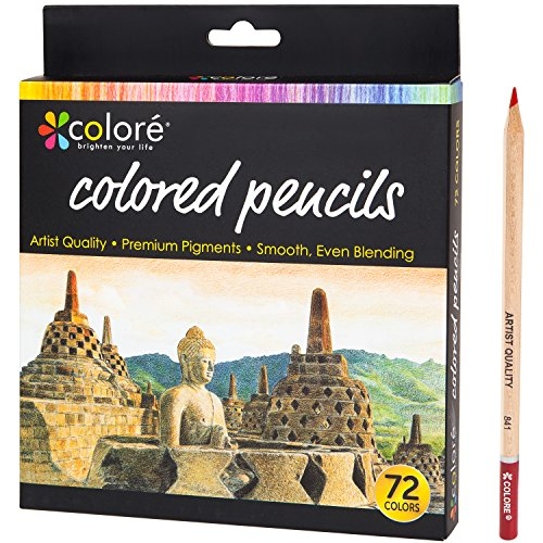 Colore Colored Pencils - 72 Premium Pre-Sharpened Color Pencil Set For Drawing Coloring Books - Great Art School Supplies For Kids & Adults Coloring Pages - 72 Vibrant Colors