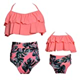ICOOLTECH Womens High Waist Bikini Family Matching Swimwear Mother Girl Swimsuit (Pink-Women, L) (Color: Orange-women, Tamaño: Large)