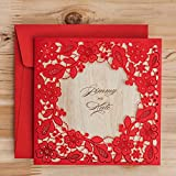 Laser Cut Red Lace Invitation Cards Elegant Hollow Flower Floral Wedding Invitations Birthday Party Paper Cards CW5280 (10) (Color: Red, Tamaño: 16*16cm)